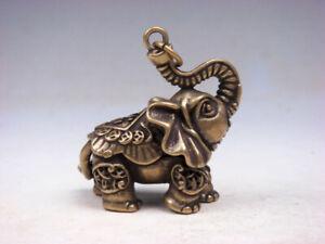 Sottile-Ottone-Altamente-Dettagli-Crafted-Scultura-Passeggio-Elefante-Naso-Up