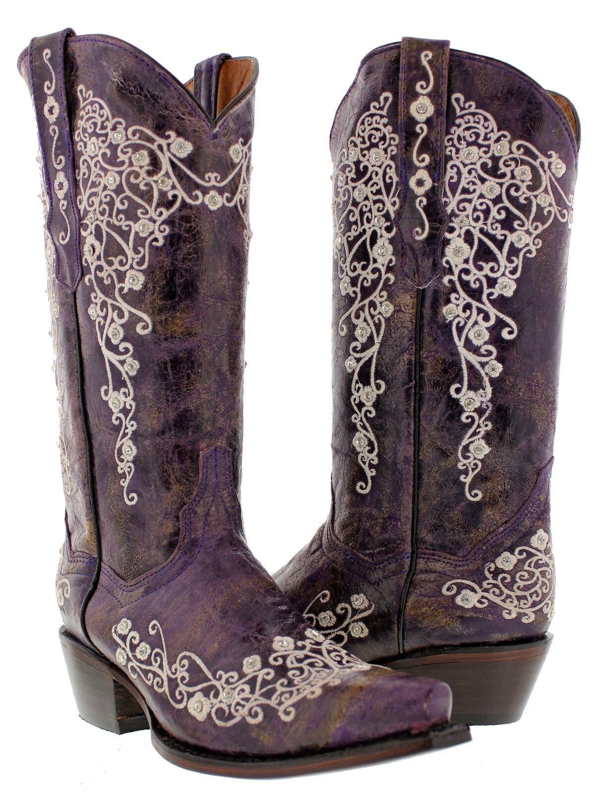 sconti e altro donna viola Leather Western Cowboy stivali Rhinestones Rodeo Cowgirl Cowgirl Cowgirl  garantito
