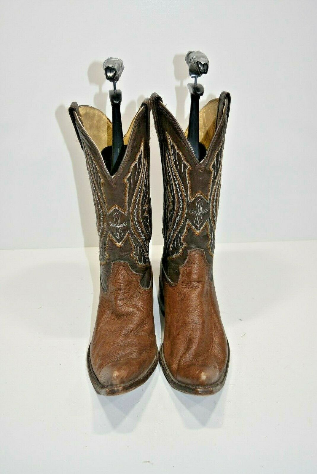 RUDEL MENS 10.5 EE BROWN LEATHER POINTED TOE MEXICAN WESTERN COWBOY BOOTS