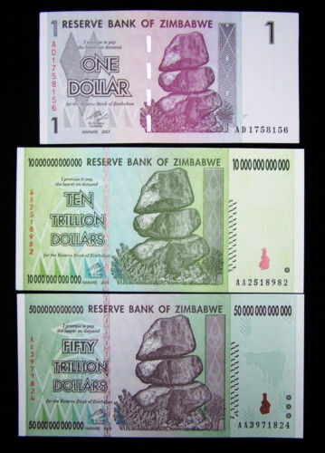Lot of 3 Zimbabwe banknotes-1 dollar,10/&50 Trillion Dollars-UNC currency