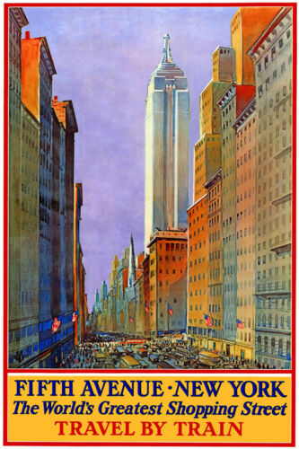 NEW YORK 5th AVENUE Shopping by Train ...Vintage Travel Poster A1,A2,A3,A4 Sizes