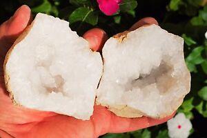 2-Two-x-4-034-Natural-Geode-Pairs-Crystal-Geode-Quartz-Druze-Specimen-Moroccan