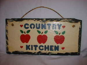 SLATE-Wall-Hanging-Red-Apples-Country-Kitchen-Rectangular-Handpainted-Decor