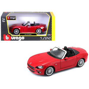Fiat-124-Spider-Coupe-Red-1-24-Diecast-Model-Car-by-Bburago-21083r