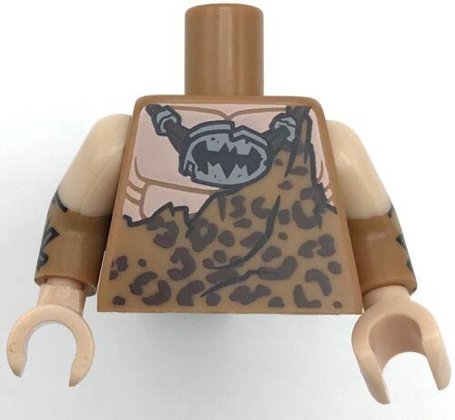 Lego New Medium Dark Flesh Torso Batman Muscles Outline with Animal Print Top