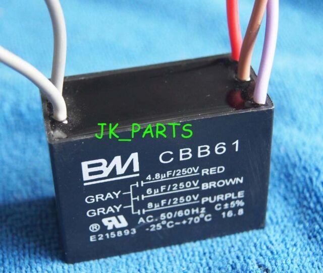 UL CBB61 CEILING FAN CAPACITOR 4.5uf+6uf+8uf 5 WIRE 250VAC BM