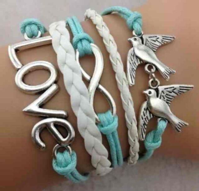 Armband Leder Wickelarmband Vintage Armkette Lederarmband Infinity Love Geschenk