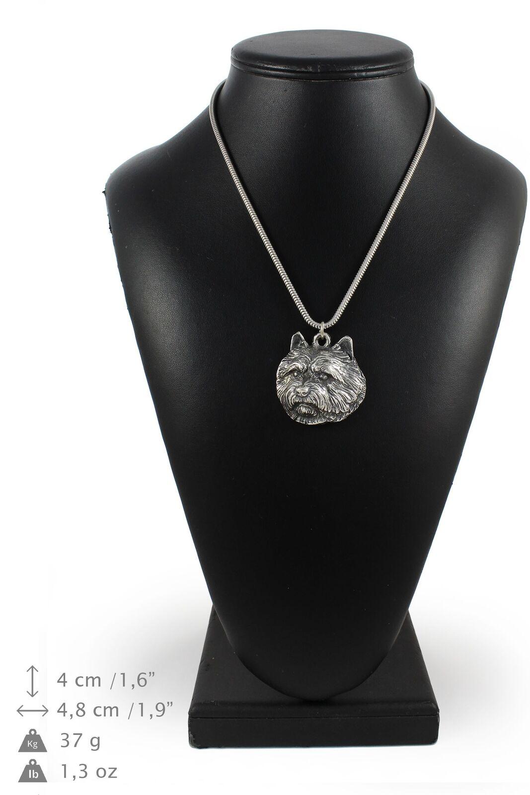 Norwich Terrier - argento plaqué collier sur une cordon en argento Art Dog FR