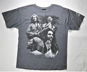 Bob-Marley-T-Shirt-Gray-L-Print-Reggae-Music-Celebrity-Rasta-Weed-Jamaica-Singer