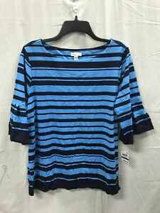 CHARTER-CLUB-Knit-Ruffle-Sleeve-Stripe-Top-Ocean-Blue-XL