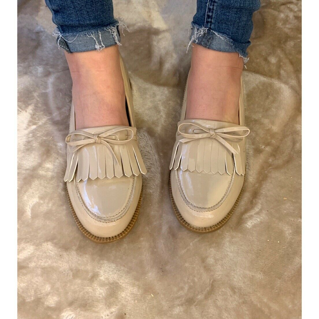Boohoo Nude Patent Tassel Loafers. Size 8. Worn Once.