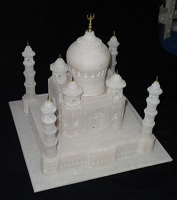 "Other Home Arts & Crafts Imported From Abroad 12""x12"" Alabaster White Marble Taj Mahal Art Handmade Home Decor Beautiful Gifts Traveling"