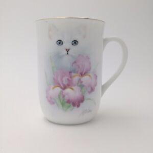 Vintage-Otagiri-White-Cat-with-Pink-Orchid-Mug-Design-by-Bob-Harrison