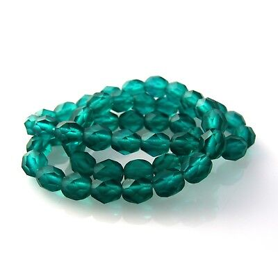 50 3mm Faceted Round Fire Polish Czech Glass Beads Emerald Green AB