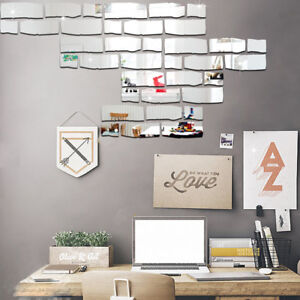 Specchi Adesivi Da Parete.Dettagli Su Eg 24 Pz Moderno Mattoni Forma Specchio Adesivi Da Parete Fai Da Te Bagno