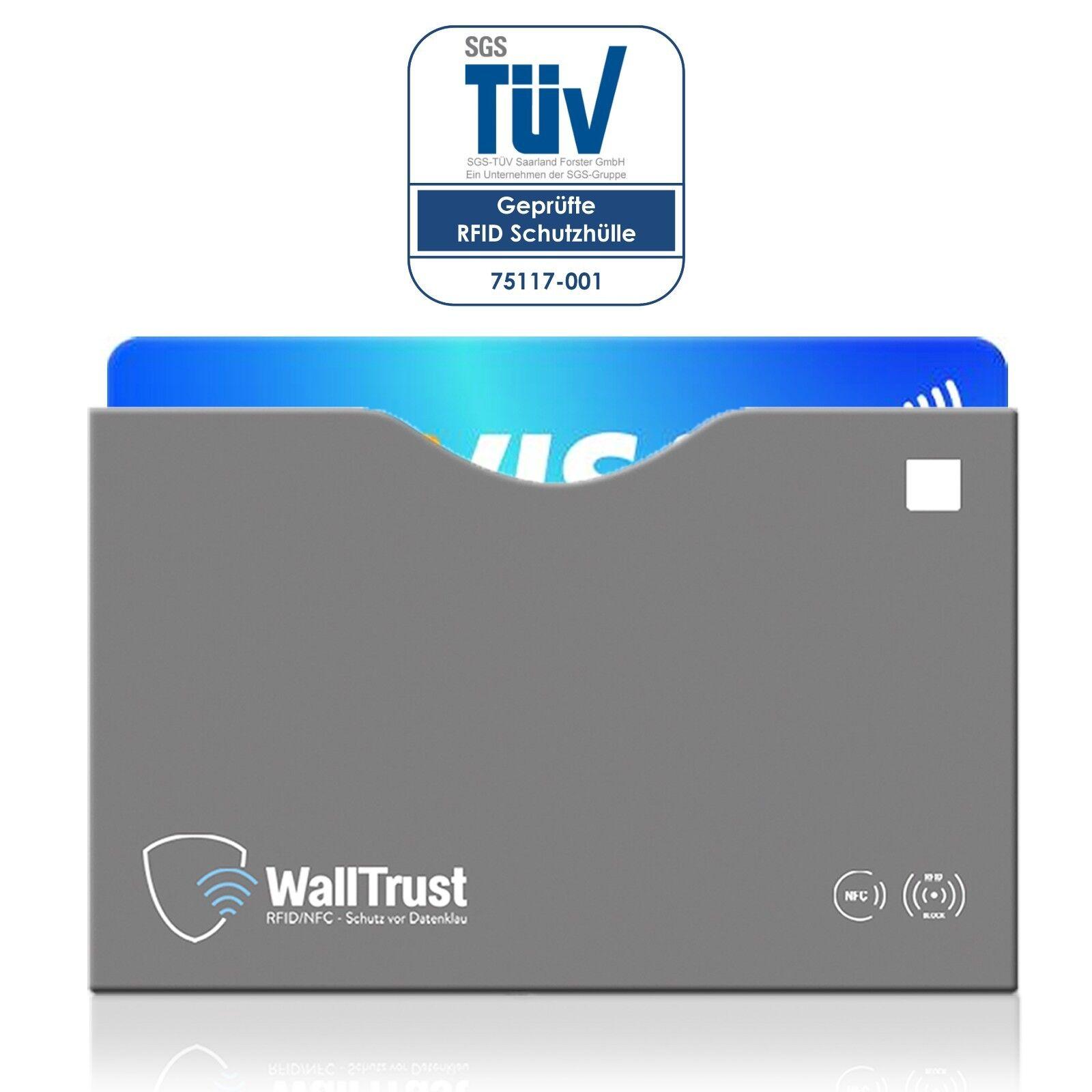 Bloqueador de WallTrust® RFID NFC CE cubre las tarjetas de crédito   TÜV   Parte superior abierta