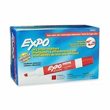 Expo Low Odor Dry Erase Marker Chisel Tip Red Ink 12 Count