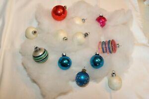12 vintage Shiny Brite Rauch Christmas ornaments unsilvered barrel USA glass
