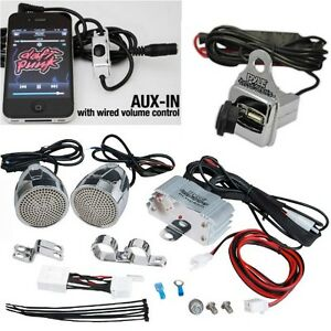 PYLE-PLMCA60-AMPLIFICATORE-2-CASSE-MOTO-CUSTOM-IMPERMEABILI-USB-JACK-3-5-CROMATE
