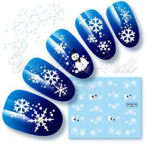 Snowflakes-Nail-Decals-Water-Decals-Nail-Stickers-Snowmen-Snowflakes-Frosty