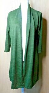 Avenue-Size-14-16-Olive-Green-Long-Open-Front-3-4-Sleeve-Cardigan