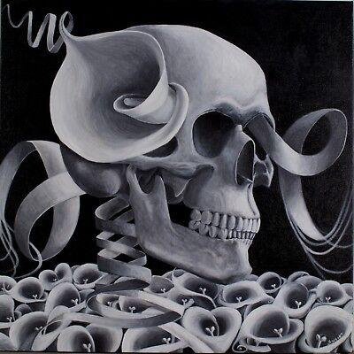 Skull Art Print Black And White Skull Skull With Flowers Ebay