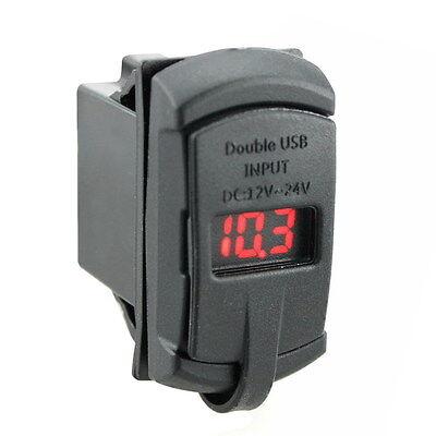 2 in 1 Digital LED Car Volt Gauge Meter Panel Voltmeter Tester Dual USB Charger