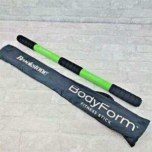 "Brookstone BodyForm Fitness Exercise Stick Toning Green + Carry Storage Bag 25"""