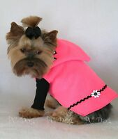 Xxxs Hot Pink Fleece Hoodie Dog Dress Clothes Pet Apparel Teacup