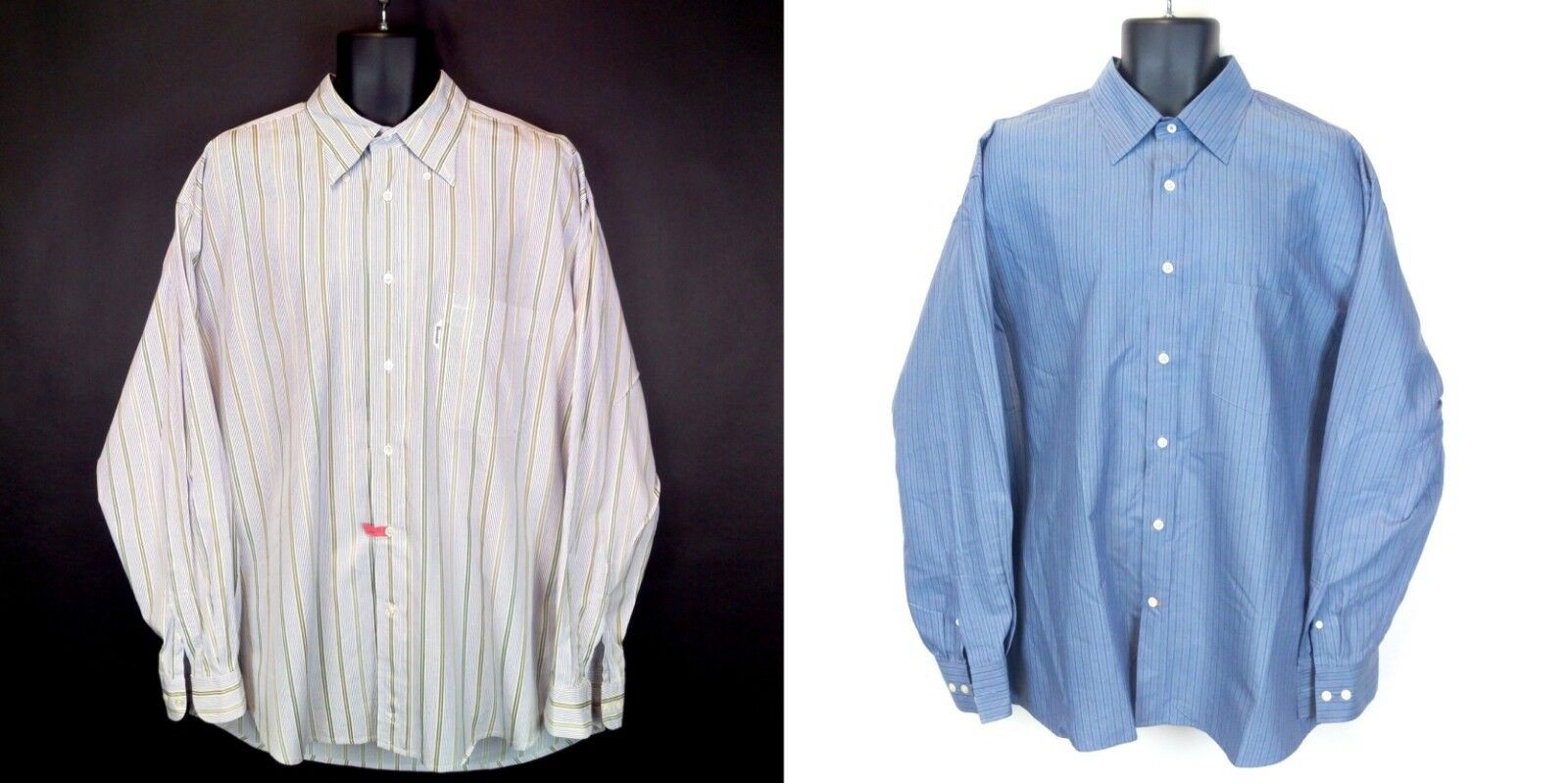 Lot of 2 Faconnable Men's XL bluee Striped Long-Sleeve Cotton Button Shirts EUC