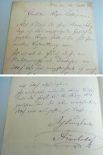 ALBIN SWOBODA (1836-1901): Eigenhändiger Brief WIEN 1879 / Darlehen STADTTHEATER