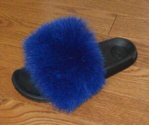 Real Fox Fur Slide Sandals Slippers