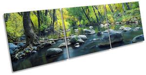 Green-Landscape-Forest-River-Framed-CANVAS-PRINT-Triple-Wall-Art