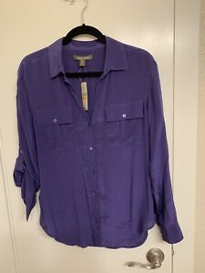 NWT-Tommy-Bahama-Women-039-s-S-petite-Blue-Ribbon-Button-Up-Long-Sleeve-Blouse-Shirt
