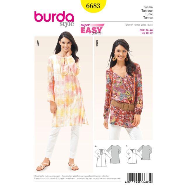 Burda 6683 Sewing Pattern Ladies Tunic Blouse Boho Slightly | eBay