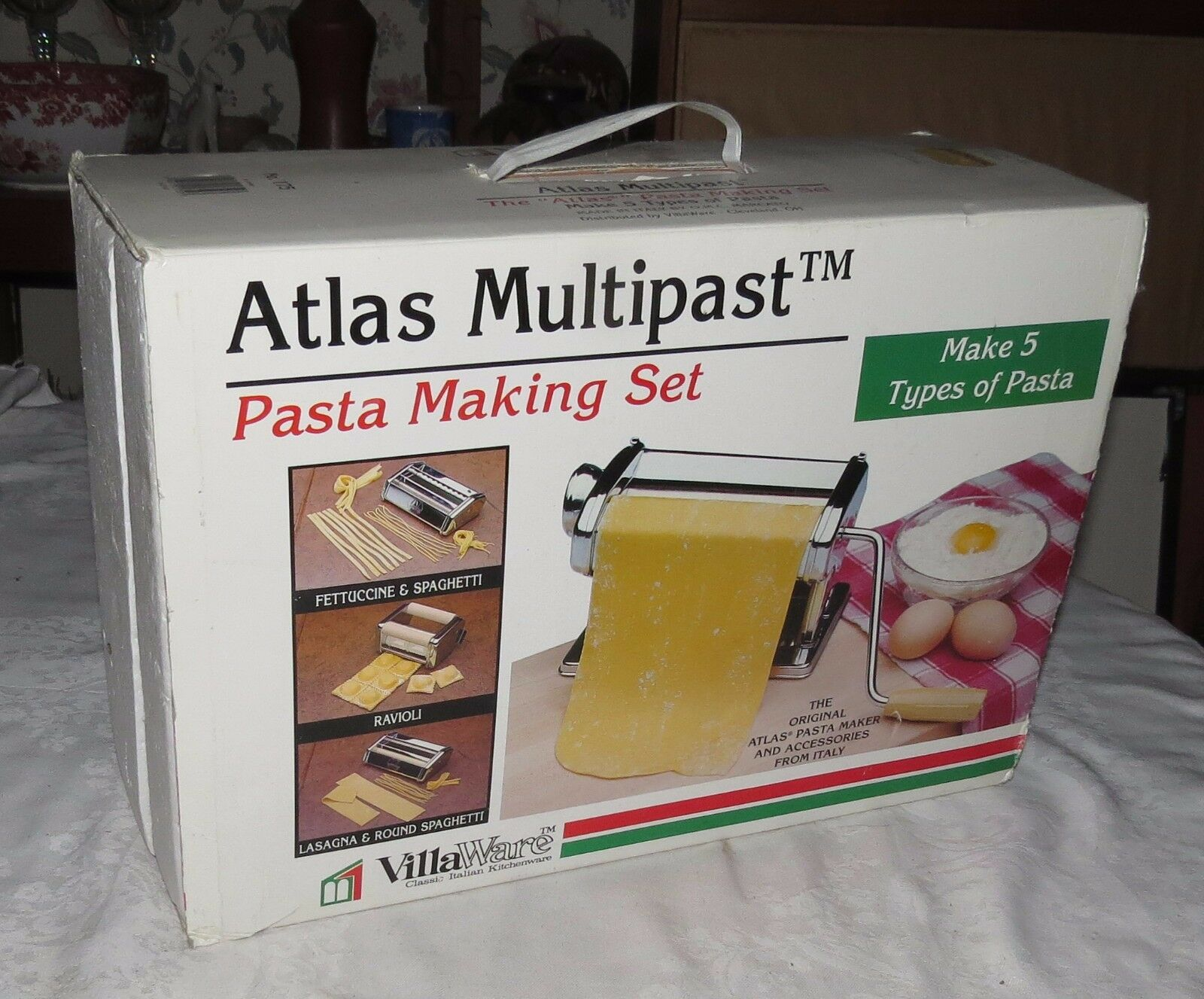 Atlas Multipast VillaWare pates making set fait cinq types de pates NEW IN BOX