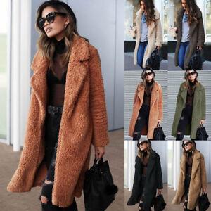 Womens-Thick-Warm-Teddy-Bear-Fleece-Jackets-Coat-Open-Cardigan-Outwear-Overcoat