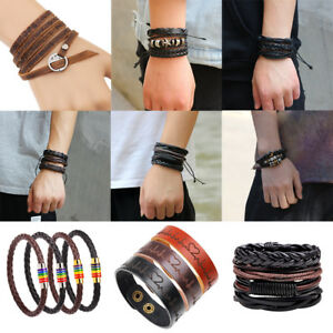 Fashion-Men-Women-Handmade-Genuine-Leather-Bracelet-Braided-Bangle-Wristband-Set