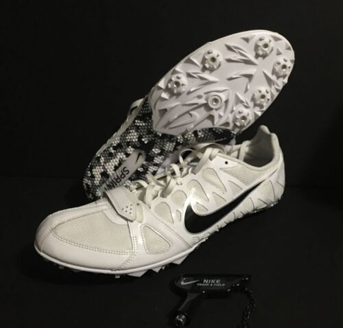NIKE ZOOM RIVAL SPRINTER TRACK SPIKES RUNNING WHITE BLACK MEN SIZE 12 555401107