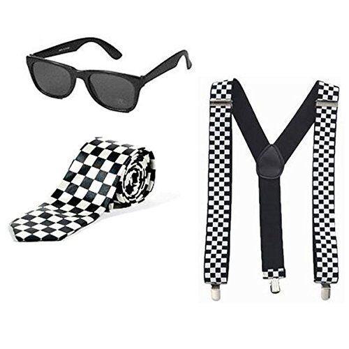 1980/'s SKA Black White Chequered Tie Braces /& Sunglasses Fancy Dress Costume