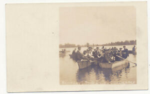 Boat-Silver-Lake-Band-Yellow-Creek-Lake-Indiana-1908-Real-Photo-Music-Postcard-Z
