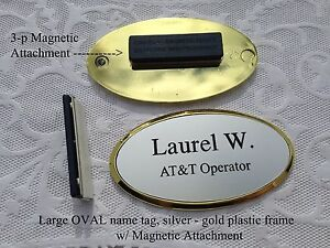 Personalized Custom Engraved LRG OVAL Name Tag SILVER w GOLD