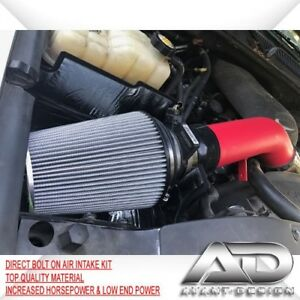 """4/""""Red Heat Shield Cold Air Intake System+Exhaust Header FOR GMC//Chevy V8 4.8//5.3"""