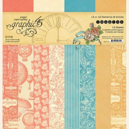 "Graphic 45 Imagine 12x12/"" Paper Pad Patterns /& Solids"