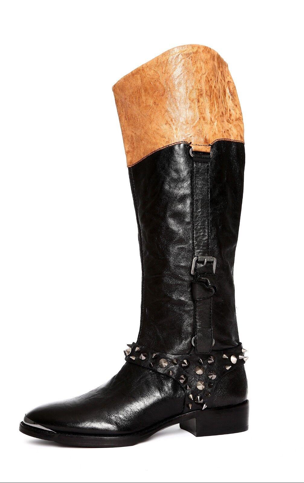 Sam Edelman Park Womens Tan Black Leather Boot Sz 7.5 2936