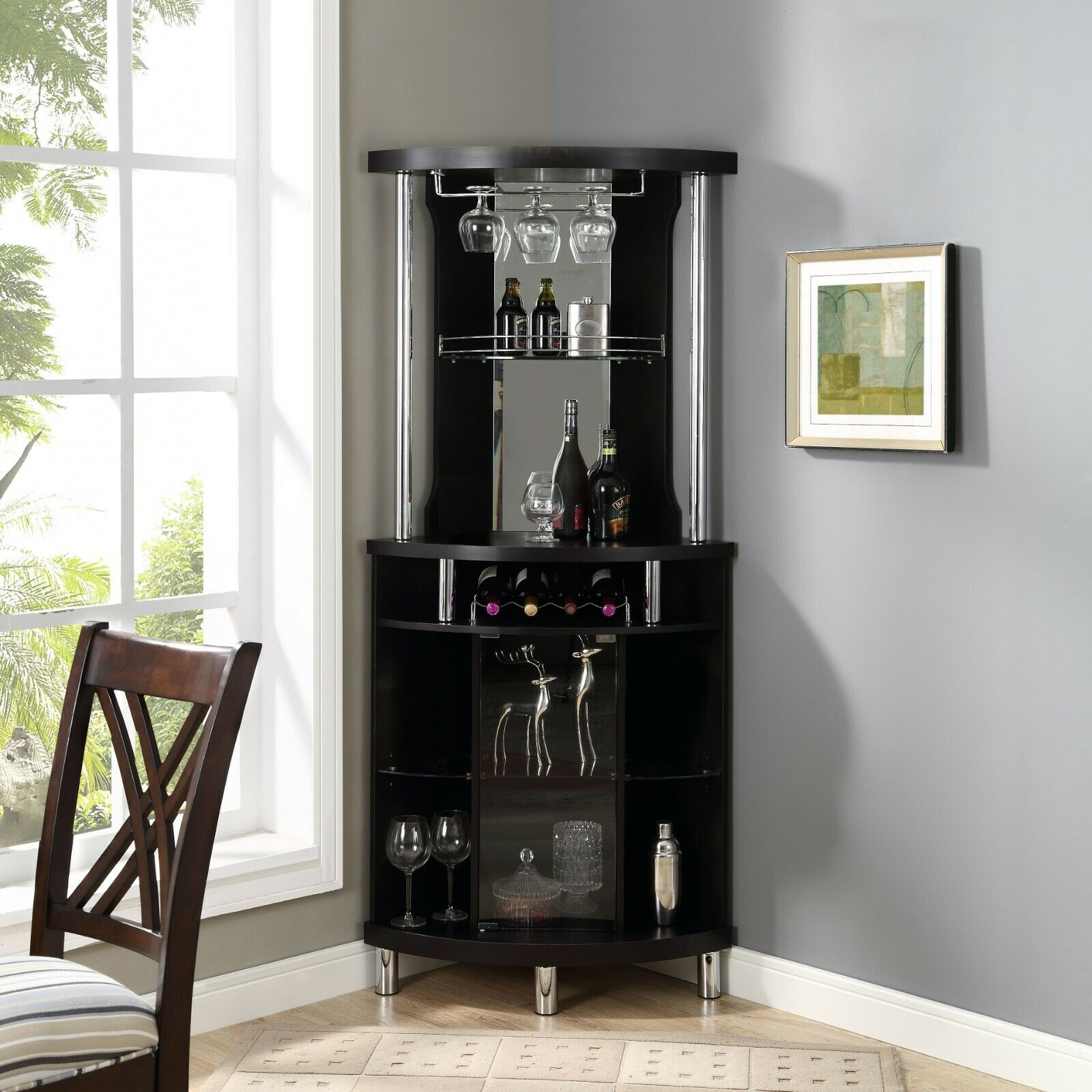 Ashley Heights Black Stain Home Bar