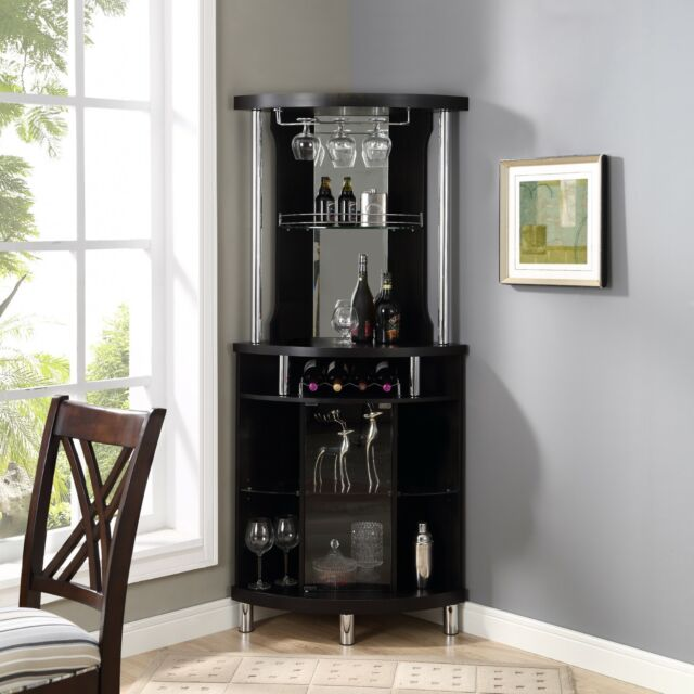 Terrific Home Bar Cabinet Wine Storage Liquor Rack Stemrack Pub Black Corner Furniture Interior Design Ideas Gentotryabchikinfo