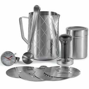 VonShef 9Pc Coffee Barista Set Stainless Steel Milk Jug Thermometer Stencils
