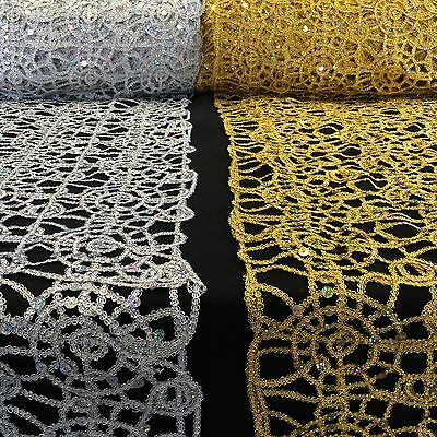 Corded Sequin Lace Fabric Metallic Web for Table Cloths and Apparel 10 COLORS