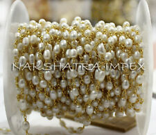 Freshwater Pearl 3-5mm Rice Shape Smooth Gold Plated Wire Wrapped Rosary Chain